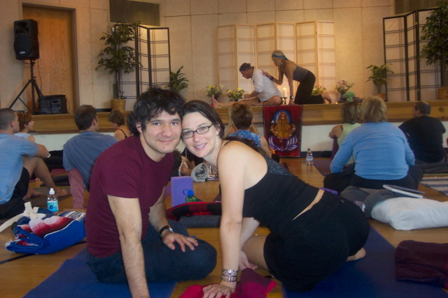 At a yoga workshop in 2005